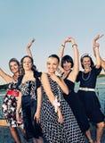 Retro ritratto del gruppo delle donne Fotografia Stock