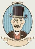 Retro ritratto del signore in un black hat superiore. Vettore Illustrazione Vettoriale