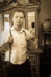 Retro ritratto dell'uomo Fotografia Stock Libera da Diritti