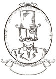 Retro ritratto dell'uomo in un black hat superiore. Illustratio del grafico di vettore Immagini Stock
