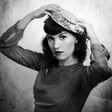 Retro ritratto della donna in 1920. Immagini Stock