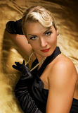 Retro ritratto della donna bella Fotografia Stock