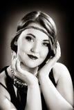 Retro ritratto della ragazza Fotografia Stock