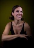 Retro ritratto della ragazza sorridente Immagini Stock