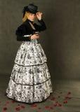 Retro ritratto della signora con vetro di vino Fotografie Stock