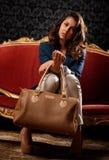 Retro ritratto di bella donna Fotografia Stock
