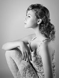 Retro ritratto di una giovane donna Immagini Stock