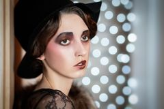 Retro ritratto femminile fotografia stock libera da diritti