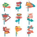 Retro road signs. Vintage billboard set. Vector illustration. Eps10 Royalty Free Stock Photo
