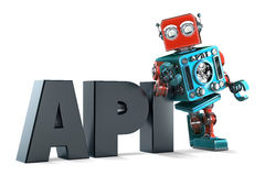 Retro Robot with application programming interface sign. Isolated. Contains clipping path Stock Photos