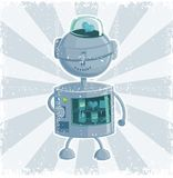 Retro robot automate in vector. This image represents a retro toy robot walking away Stock Photos