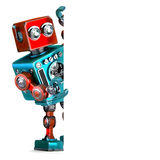 Retro Robot with blank banner. 3D illustration. Isolated.. Contains clipping path Stock Image