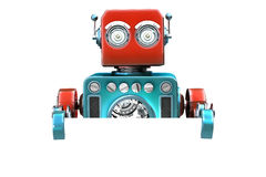 Retro robot with blank board. . Contains clipping path Stock Photo