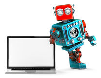 Retro Robot with blank screen laptop. 3d illustration. Isolated. Contains clipping path Royalty Free Stock Photos