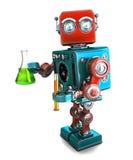 Retro robot con la vetreria per laboratorio Isolato Percorso di ritaglio di Contians Fotografie Stock Libere da Diritti