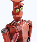 Retro robot denkt zitting op de kubus, kunstmatige intelligentie, ai vector illustratie