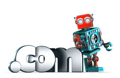 Retro robot with dot COM domain sign. . Contains clipping path. Retro robot with dot COM domain sign.  over white. Contains clipping path Royalty Free Stock Photography