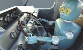 Retro Robot drave car. Autonomous transport and self-driving car. S concept 3D illustration royalty free illustration
