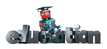 Retro robot with EDUCATION sign. Isolated. Contains clipping path. Retro robot with EDUCATION sign. Technology concept. Isolated over white. Contains clipping Stock Images
