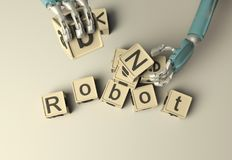 Retro Robot hand build with wooden ABC cubes on floore. 3D rende. Ring. Education scientist robot student royalty free illustration