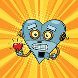 Retro robot heart Valentine love and romance Stock Photography