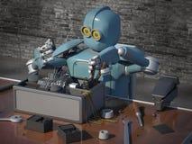 Retro Robot herstelt een gebroken mechanisme, herstelt Android det stock foto