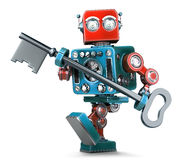 Retro robot holding a big antique key in his hands. . Contains clipping path. Retro robot holding a big antique key in his hands.  over white. Contains clipping Stock Photography