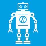 Retro robot icon white Stock Photography