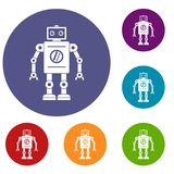 Retro robot icons set. In flat circle red, blue and green color for web Royalty Free Stock Photography