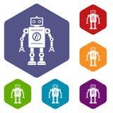 Retro robot icons set hexagon Royalty Free Stock Photos