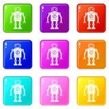 Retro robot ikon 9 set Zdjęcia Stock