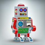Retro robot illustration toy Stock Image