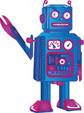 Retro Robot Mad. An Angry Retro Robot Out To Kill Royalty Free Stock Photography