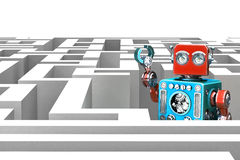 Retro Robot in a maze. Technology concept. 3d illustration Stock Image