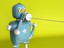 Retro Robot met Tin Can Phones 3d geef terug vector illustratie