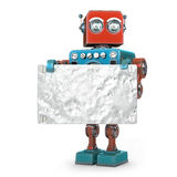 Retro robot with metallic blank board. Isolated. Contains clipping path Royalty Free Stock Image