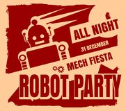 Retro robot party poster Royalty Free Stock Photography