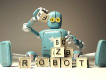 Retro Robot plays with wooden ABC cubes on floore. 3D rendering. Education scientist robot student royalty free illustration