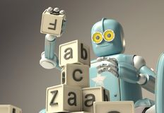 Retro Robot plays with wooden ABC cubes on floore. 3D rendering. Education scientist robot student stock illustration