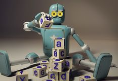 Retro Robot plays with wooden ABC cubes on floore. 3D rendering. Education scientist robot student vector illustration