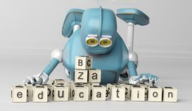 Retro Robot plays with wooden ABC cubes on floore. 3D rendering. stock illustration