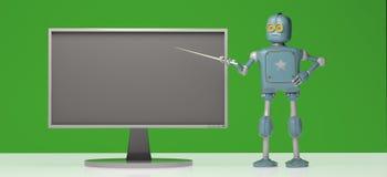 Retro robot with pointer stick on green background. 3d illustrat royalty free illustration