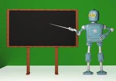 Retro robot with pointer stick on green background. 3d illustration. Robot teacher standing in front of blackboard vector illustration