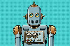 Retro robot portrait. Pop art vector illustration vintage kitsch royalty free illustration