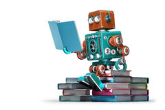 Retro Robot Reading A Book. Isolated. Contains Clipping Path Stock Photography