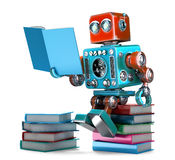 Retro Robot reading  books. Isolated. 3D illustration. Contains. Clipping path Royalty Free Stock Images