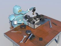 Retro Robot Repairs a broken mechanism, Android restores the det. Ail. 3d Render Royalty Free Stock Photography