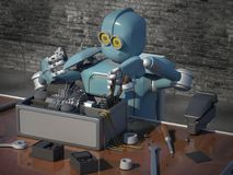 Retro Robot Repairs a broken mechanism, Android restores the det. Ail. 3d Render Stock Photo