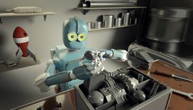 Retro Robot Repairs a broken mechanism, Android restores the det. Ail. 3d Render Royalty Free Stock Image