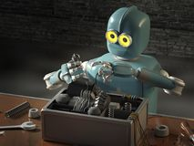 Retro Robot Repairs a broken mechanism, Android restores the det. Ail. 3d Render Stock Photos